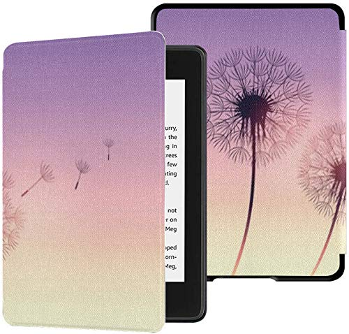 Völlig Neue wasserfeste Kindle Paperwhite-Stoffhülle (10. Generation, Version 2018), Löwenzahn-Silhouette Lila Sonnenuntergang Flying Seeds Tablet-Hülle
