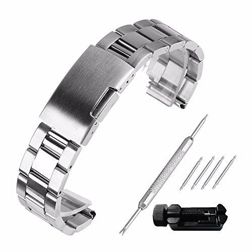 Echthaarverlängerung Armband zeigt 28mm Stahl 304Ersatz mit Armband Link Pin Remover Set Reparatur Werkzeugset Armband hat Schnalle, Band Handgelenk-Wasserdicht Watch Band Set # 59