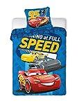 Disney–Juego de cama infantil III 2piezas 100% algodón 40x 60+ 100x 135cm con cremallera Cars Speed Talla:tamaño: 100 x 135 cm + 40 x 60 cm