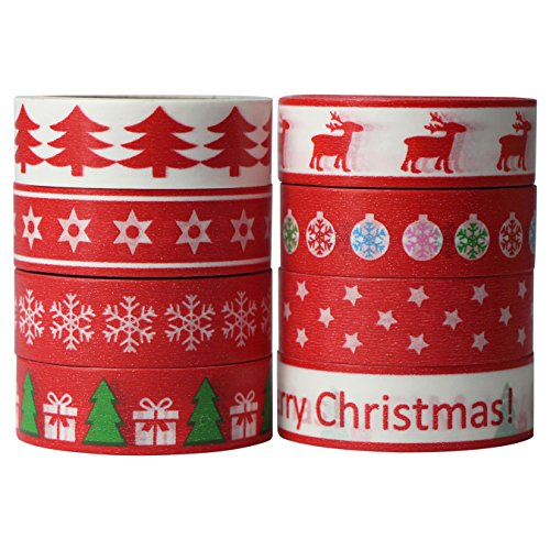 8x Washi Tape Navidad Christmas Cintas Decorativas DIY 15mm x 10m (Design 9050)