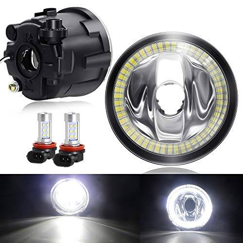 Upgrade Fog Light with LED Halo Ring DRL for Nissan 2007-2011 Versa, 2011-2013 Rogue, 2009-2014 Murano Z51, 2009-2014 Cube Z12, 2011-2014 Juke, 2010-2013 Infiniti G37 (Without Harness Wire)