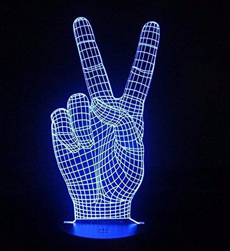 Lenguaje de signos de luz nocturna 3D I Love You or VicYes Lámpara de mesa Operada por USB Cumpleaños Vacaciones Regalo para niños Decoración de la habitación