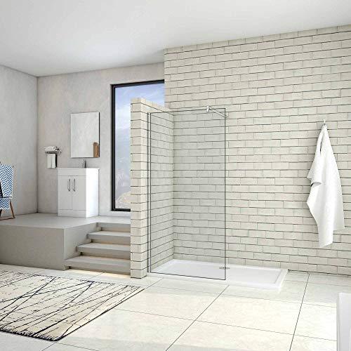 AICA paroi de douche 80x200cm douche à l'italienne en 10mm verre anticalcaire et securit avec une barre de fixation carrée 90cm