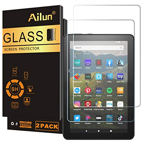 AILUN Screen Protector Compatible for All-New Amzon Kindle Fire HD 8/Fire HD 8 Plus/Fire HD 8 Kids 2020 Released 0.33 MM Premium Tempered Glass, Ultra Clear,Anti-Scratches,Case Friendly