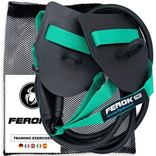 Ferok - Trockentraining Zugseile mit Handpaddles - Fitness Widerstandsband mit Seilen und Paddles - Ideal für das Heimkörpertraining - Version Medium