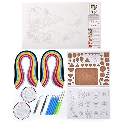 Quilling Borders Mixed Color 5 Shapes Towers Quilling Tools Kit DIY Quilled Creation for Home Office Decoration