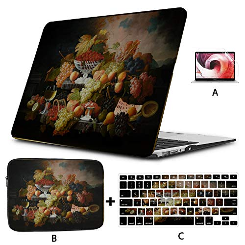 MacBook 11 Inch Case Abundance of Fruit Severin Roesen Oil Canvas Laptop Shell Hard Shell Mac Air 11'/13' Pro 13'/15'/16' with Notebook Sleeve Bag for MacBook 2008-2020 Version