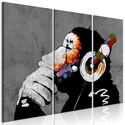 murando Cuadro en Lienzo DJ Mono 120x80 cm 3 Partes Impresión en Material Tejido no Tejido Impresión Artística Imagen Gráfica Decoracion de Pared Banksy Animales Concreto Musica g-A-0288-b-e