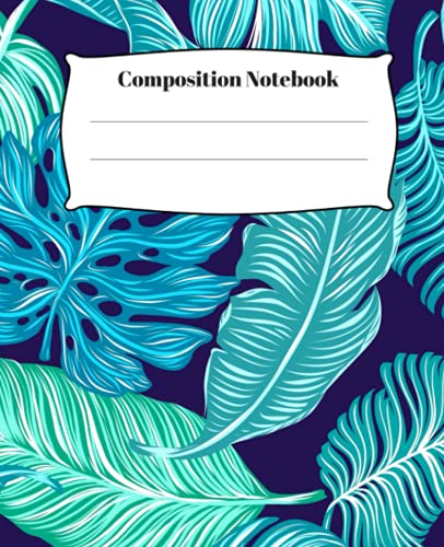 Composition Notebook: Cool cute Blue Flower Cover wide ruled lined Composition notebook for teens girls kids, school supplies | 100 Pages | 19 x 23.5cm
