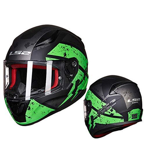 MYSdd Integralhelm Motorradhelm ABS Casque Moto Capacete Street Racing Helm Schnelle und einfache Schnalle, Belüftungsschirm - grünX M