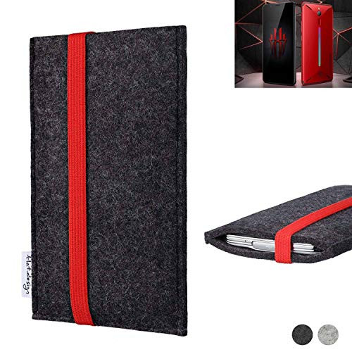 flat.design Handy Tasche Coimbra für Nubia Red Magic Mars passexakt Filz Schutz Hülle Hülle anthrazit rot fair
