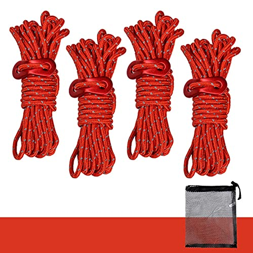 Diamond Braid Polypropylene All Purpose Flagline Rope, High Strength, UV Resistant and Excellent Shock Absorption, Good for Tie, Pull, Swing, Climb and Knot (Red)