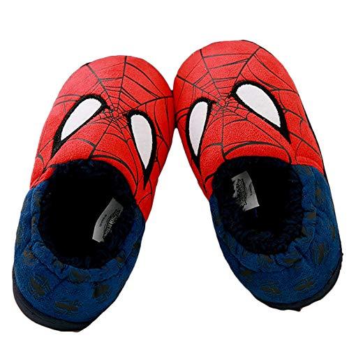 YEMAO Zapatillas de algodón Spiderman para niños y niñas, Bonitos Dibujos Animados para niños, Zapatos Antideslizantes para el hogar, Zapatos de tacón con Todo Incluido para la casa,Spiderman-30EU