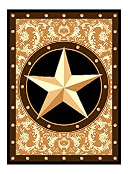 Furnish My Place 626 Star Gold Texas Western Star Decor Cowboy Area Rug Stain Resistant Latex Backed Rugs Gold  5 x7 5