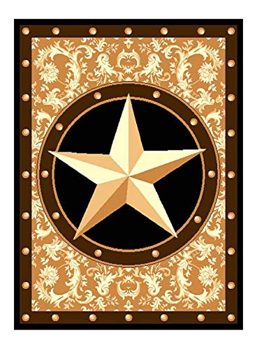 "Furnish my Place Texas Western Star Rustic Cowboy Decor Area Rug, 60"" L, Gold/Brown/Black"