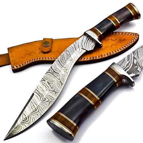 KK155 Handmade Damascus Steel Heavy Duty KUKRI Knife Sharp Blade, With Leather Sheath 15 inches