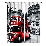 JKCloth Cortinas Opacas de Dormitorio y Salón Ventanas para Habitacion Moderna con Ojales de Metal 2 Panel 280X250 CM Cortina Decorativa Estampada con London City Street View Bus Rojo