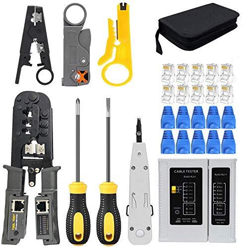 MAYLINE - Juego de herramientas de red, herramienta de reparación de cables...