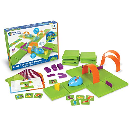 Learning Resources Code & Go Robot Mouse Activity Set, STEM, Kids Coding Toy, Programs up to 40 Steps, Christmas Gift for Kids, 83 Pieces, Ages 4+