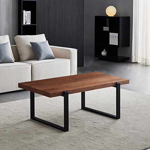 QWEEI Mesa de centro rectangular industrial sofá mesa auxiliar de madera, con marco de metal negro fuerte, mesa de cóctel de café, estilo industrial para sala de estar de nogal 130 x 70 x 15 cm