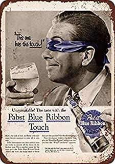 Bruyu5se Metal Sign, Tin Sign, 1956 Pabst Blue Ribbon Beer Taste Test Vintage Look Reproduction Metal Tin Sign 12X18 Inches