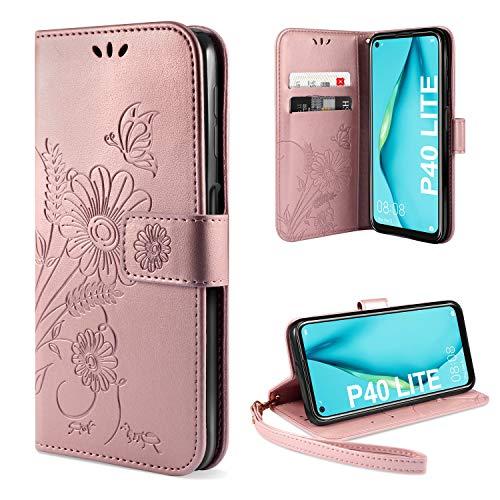 ivencase für Huawei P40 Lite Hülle Flip Lederhülle, Huawei P40 Lite Handyhülle Book PU Leder Tasche Hülle mit Kartenfach & Magnet Kartenfach Schutzhülle für Huawei P40 Lite - Pink Gold