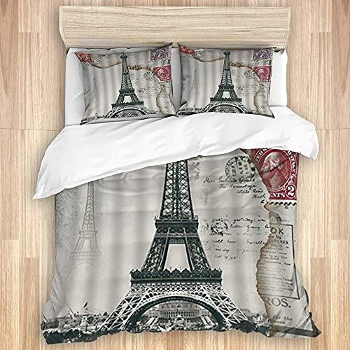 HARXISE Juego de Funda nórdica, Retro Torre Eiffel, Famoso Monumento nostálgico, Sello de periódico, Juego de Cama Suave de Lujo de 3 Piezas (sin edredón)
