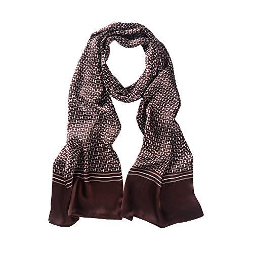 LDCSA Foulard Uomo Seta Elegante Raso Sciarpa Business Satin Silk Scarf Regalo 160 x 26cm (Marrone)