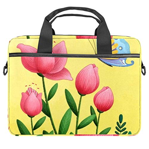 Flowers with Butterfly Laptop Bag Messenger Bag Slim Briefcase with Crossbody Shoulder Bag Computer Bag Computer and Tablet Carrying Case for 13.4-14.5In
