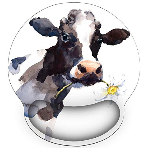Britimes Ergonomic Mouse Pad with Wrist Support Black White Cow with Daisy Non-Slip Rubber Base Mousepad for Home Office Gaming Working Computers Laptop Easy Typing & Pain Relief