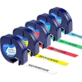Greateam Compatible Label Tape Replacement for DYMO LetraTag Plastic Tape (Black on White/Yellow/Red/Blue/Green) 12mm x 4m use for DYMO LT100H, LT100T, QX50, XR, XM, 2000