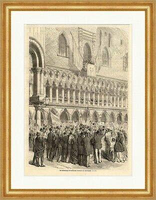 Kunstdruck Verkündigung des venetianischen Plebiszits Markuspalast Holzstich M 723 Gerahmt