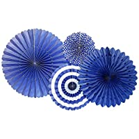 Lumierechat ペーパーファン 誕生日 バースデー 結婚式 飾りつけ 飾り ブルー 4個 セット 扇フラワー a-b8621(ペーパーファン/レイン)
