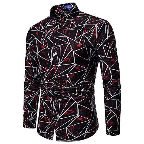 WHOLPOR Jugend Herren Freizeit Geometric Printing Langarm Dünnes Hemd, Cardigan Square Kragen Langarm Button Polyester Shirt,Red,XXXL