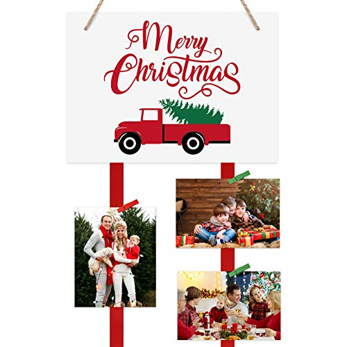 Christmas Truck Photo Holder Merry Christmas Hanging Card Display Includes 20 Photo Clips for Haning Greeting Cards Photos, Holiday Wall Decorations Farmhouse Home Decor