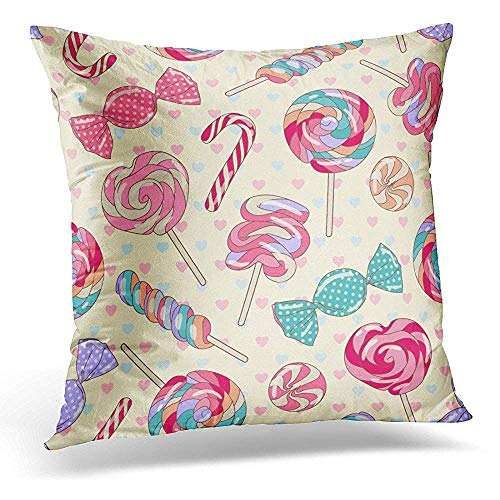 Decorative Pillow Cover Pink Party Yummy Colorful Sweet Lollipop Candy Cane with Hearts Yellow Red Christmas Throw Pillow Case Square Home Decor Pillowcase 18x18 Inches