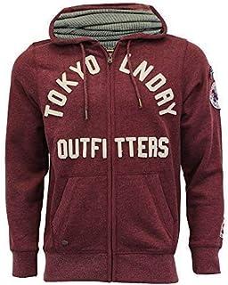 Tokyo Laundry Mens Sweatshirt Hooded Top Sweat Applique Zip Gym Fleece Lined New
