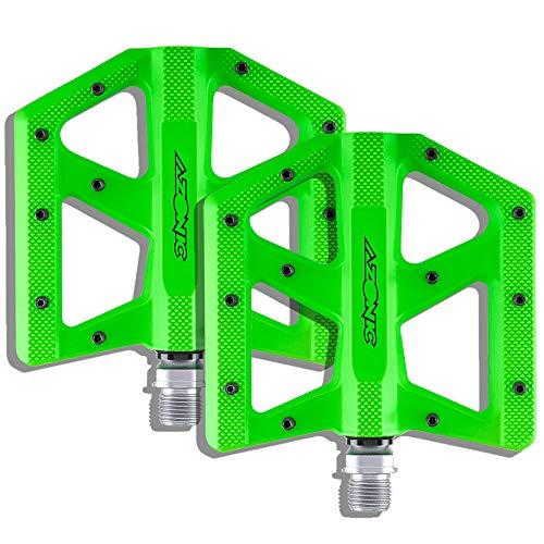 AZONIC | Fahrrad-Pedale | MTB Downhill Mountainbike BMX | Superdünnes Pedal aus Aluminiumdruckguss, Doppelt abgedichtete Lager, CNC gefräste 4130 Chromoly Achse | Kamikaze RL Pedal | Neon-Grün