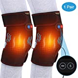 Knee Heating Pad with Motor Massage, Heat Knee Wrap Support for Hot Cold Threapy, Adjustable Knee Joint Warmer for Arthritis Cramps Stiff Muscles Pain Relief, Fits Men Women 1 Pair