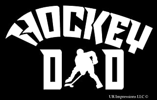 UR Impressions Hockey Dad Decal Vinyl Sticker Graphics for Cars Trucks SUV Vans Walls Windows Laptop|White|7.5 X 4.3 Inch|URI315