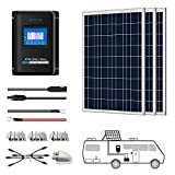 ACOPOWER 300 Watts 12/24 Volts Polycrystalline Panel Solar RV Kits with 30A MPPT LCD Charge Controller/Mounting Brackets/Y Connectors/Solar Cables/Cable Entry housing
