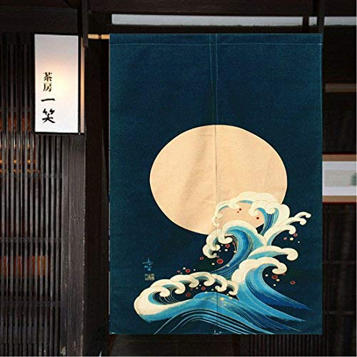 """Noren Curtain Moon Wave Japanese Curtain Doorway(59"""" x 33.45"""", Moon and Wave)"""