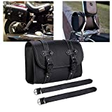 Vechkom Motorcycle Saddle Bag PU Leather Tool Roll Sissy Bar Bag Motor Side Luggage Travel Tool Tail Bag with 2 Mounting Straps Black