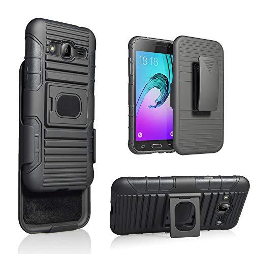Cocomii Symmetry Belt Clip Holster Galaxy J3 2016/J3 V/J3 PRO/Amp Prime Custodia, Sottile Opaco Kickstand Fondina Clip Cintura Supporto Magnetico Auto Case Bumper Cover for Galaxy J3 2016 (Black)