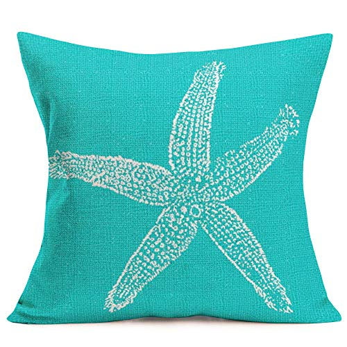 ShareJ Throw Pillow Covers Vintage Starfish Pastel Decorative Pillow Cases Cotton Linen Outdoor Home Decor Square 18 x 18 Inch Pillowcase