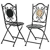 COSTWAY 2er Set Klappstuhl Mosaik, Mosaik-Stühle aus Metall mit Rückenlehne & Solider Eisenrahmen, Gartenstuhl Balkon Stühle im Retro-Stil für Garten Terrasse Wohnzimmer