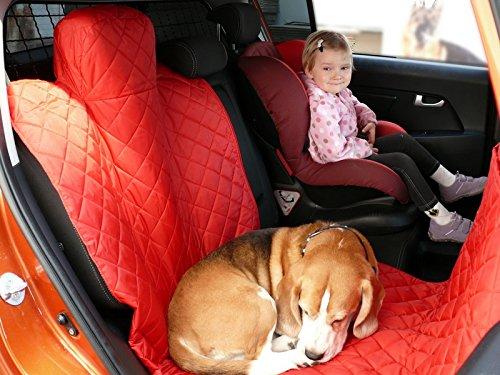 hochwertige Hundedecke mit Reißverschluß Autoschutzdecke Auto Schutzdecke Hunde 140x200cm rot