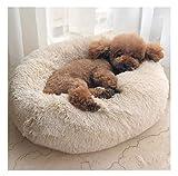 Maran Gemütlich Hundebett abziehbar und waschbar Hoher Liegekomfort durch Dicke FüllungHundesofa Hundekorb mit Hundekissen Rund oder oval Nisthöhle-Beige-70 * 70 * 20cm