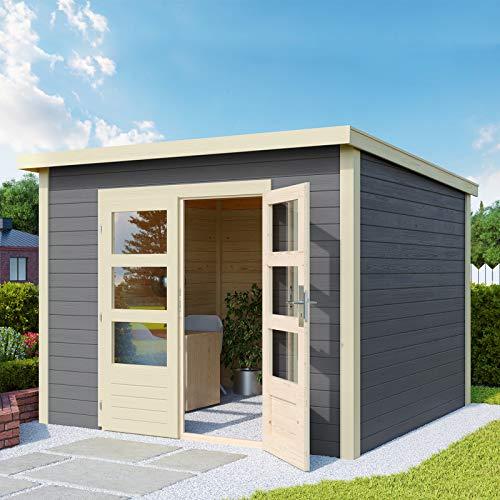 HORI® Gartenhaus I Gerätehaus Skagen aus Holz ohne Anbau I nordische Fichte terragrau I 275 x 275 cm - 28 mm Bohlenstärke