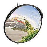 Relaxdays 10028415 Espejo Convexo, Profesional, Irrompible, Interior & Exterior, con Soporte, 60 cm, Negro